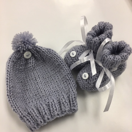 Grey Hat and Bootee Set