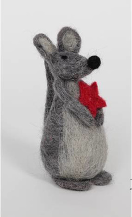 GREY & RED WOOL MOUSE WITH STAR 15cm