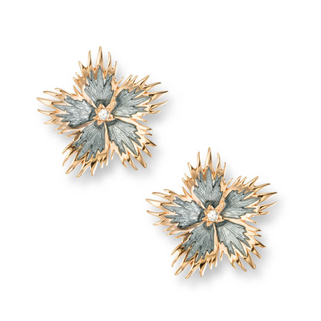 Grey Rock Flower Earrings with White Sapphire