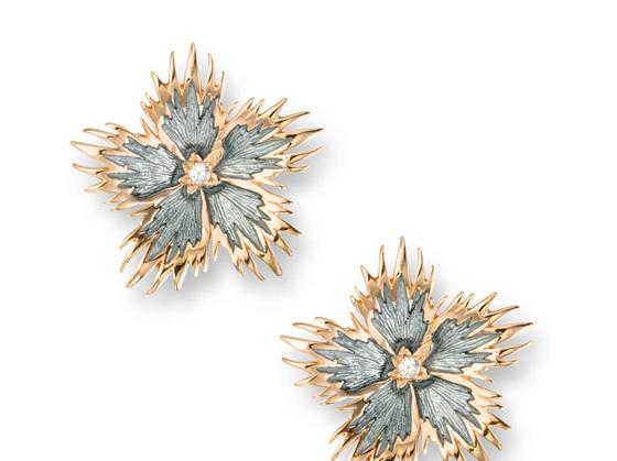 Grey Rock Flower Earrings with White Sapphire