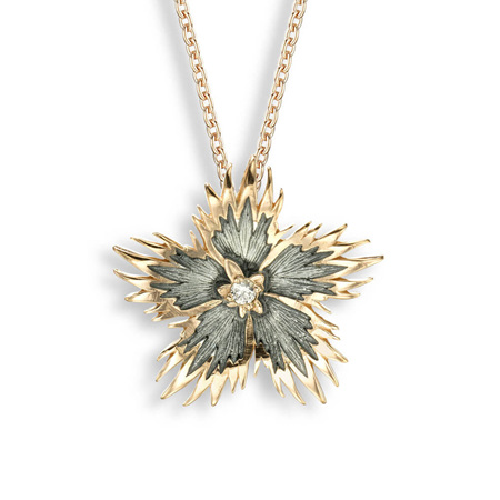 Grey Rock Flower Necklace with White Sapphire
