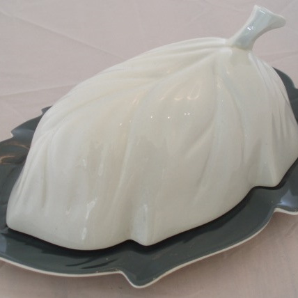 Grey two-tone covered dish