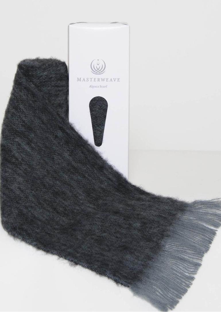 Grey/Black Marl Alpaca Scarf by Masterweave