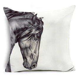 Greyscale Horses Head Portrait Cushion Cover