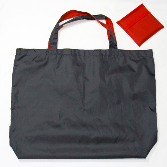 grocery pouch - navy and red - reusable nylon shopping bag