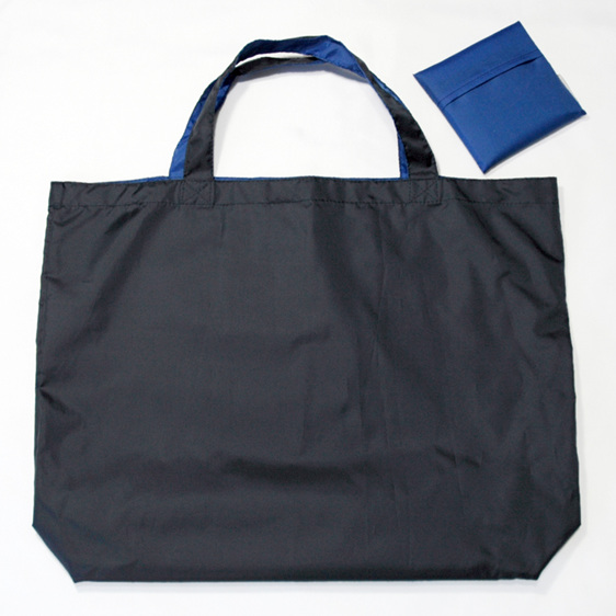 grocery pouch - navy and royal - reusable nylon shopping bag