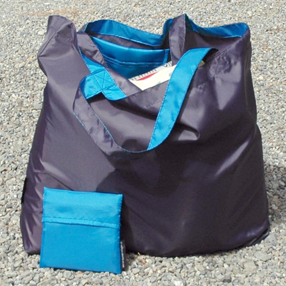 grocery pouch - navy and turquoise- reusable nylon shopping bag