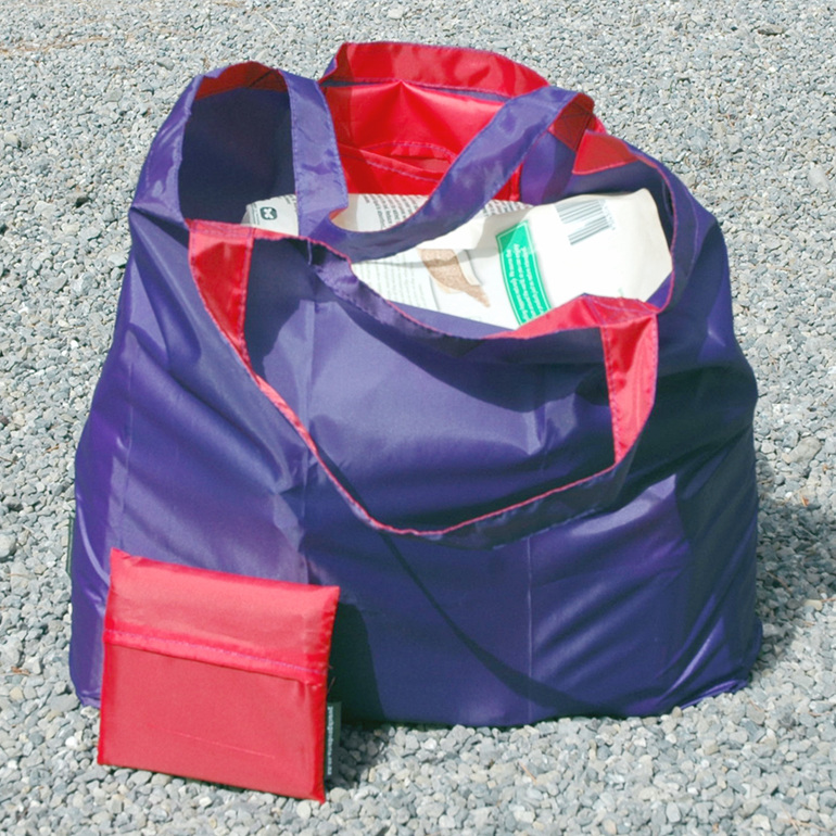 grocery pouch - purple and red - reusable nylon shopping bag