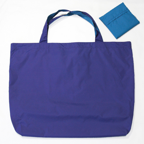 grocery pouch - purple and turquoise - reusable nylon shopping bag