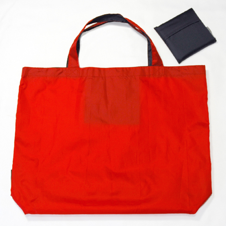 grocery pouch - red and navy - reusable nylon shopping bag