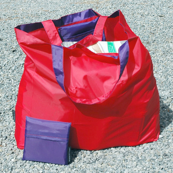 grocery pouch - red and purple - reusable nylon shopping bag