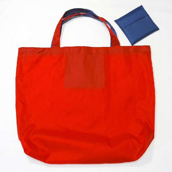 grocery pouch - red and royal - reusable nylon shopping bag
