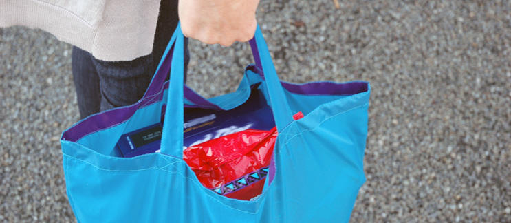 grocery pouch reusable nylon bag carried to car
