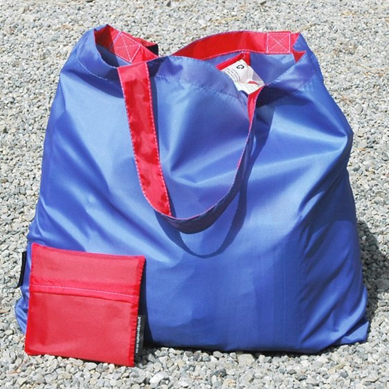 grocery pouch - royal and red - reusable nylon shopping bag