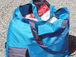 grocery pouch - turquoise and navy - reusable nylon shopping bag