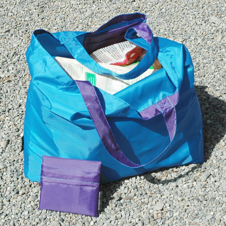 grocery pouch - turquoise and purple - reusable nylon shopping bag