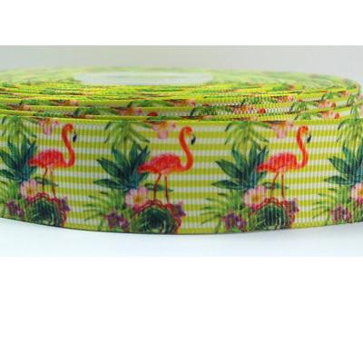 Grosgrain Ribbon x 1 Metre - Flamingos & Lime Stripes