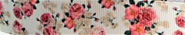 Grosgrain Ribbon x 3 Metres Antique Pink Flowers on Ivory Background