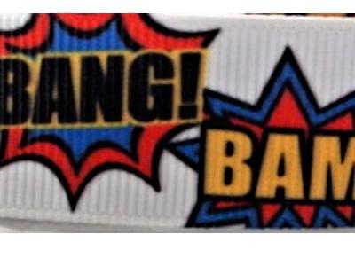 Grosgrain Ribbon x 3 Metres Bang! Bam! Boom! Zap! Pow!