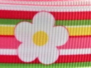 Grosgrain Ribbon x 3 Metres Big Daisies and Colourful Stripes
