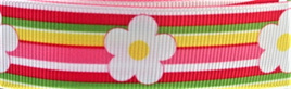 Grosgrain Ribbon x 3 Metres Big Daisies and Colourful Stripes