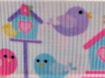 Grosgrain Ribbon x 3 Metres Birds and Birdhouses