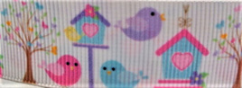 Grosgrain Ribbon x 3 Metres Birds and Birdhouses
