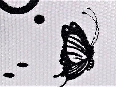 Grosgrain Ribbon x 3 Metres Black Butterflies on White Background