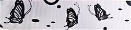 Grosgrain Ribbon x 3 Metres Black Butterflies on White Background