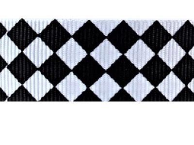Grosgrain Ribbon x 3 Metres Black & White Argyle Pattern