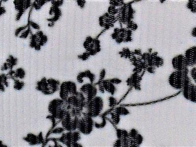 Grosgrain Ribbon x 3 Metres Black & White Flowers