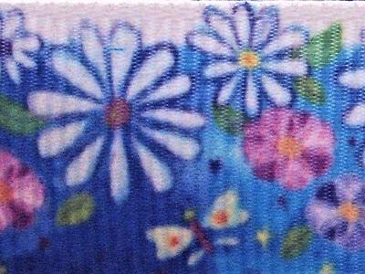 Grosgrain Ribbon x 3 Metres Blue Flower Garden