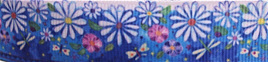 Grosgrain Ribbon x 3 Metres Blue Flower Garden
