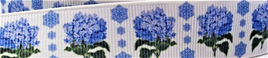 Grosgrain Ribbon x 3 Metres Blue Flowers
