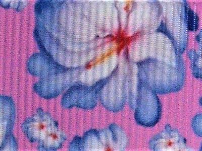 Grosgrain Ribbon x 3 Metres Blue Flowers on Purple Background
