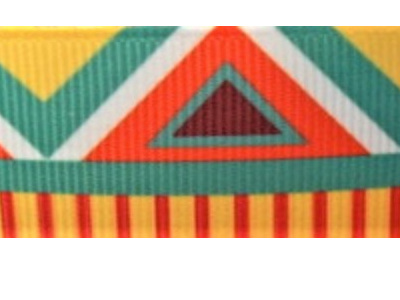 Grosgrain Ribbon x 3 Metres Bright Aztec Pattern CLEARANCE