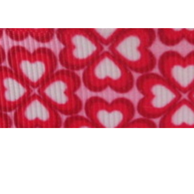 Grosgrain Ribbon x 3 Metres - Bright Pink Heart Flowers