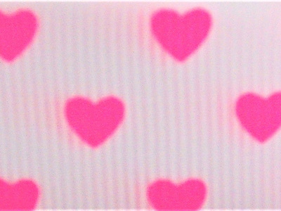 Grosgrain Ribbon x 3 Metres Bright Pink Hearts on White Background