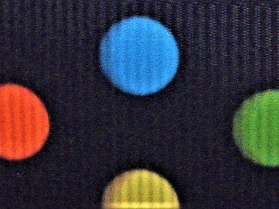 Grosgrain Ribbon x 3 Metres Bright Polka Dots on Black Background