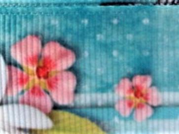 Grosgrain Ribbon x 3 Metres Butterflies and Hibiscus Flowers