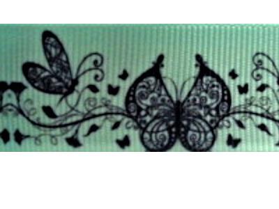 Grosgrain Ribbon x 3 Metres Butterflies on Mint Green Background