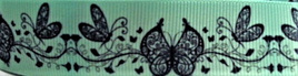 Grosgrain Ribbon x 3 Metres Butterflies on Mint Green Background