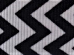 Grosgrain Ribbon x 3 Metres Chevron Stripes: Black & White