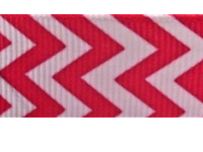 Grosgrain Ribbon x 3 Metres Chevron Stripes: Bright Pink & White