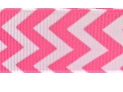Grosgrain Ribbon x 3 Metres Chevron Stripes: Candy Pink & White