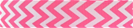 Grosgrain Ribbon x 3 Metres Chevron Stripes: Candy Pink & White