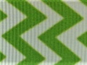 Grosgrain Ribbon x 3 Metres Chevron Stripes: Green & White