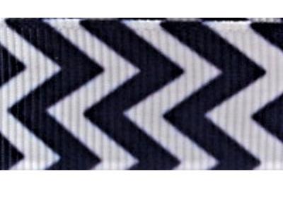 Grosgrain Ribbon x 3 Metres Chevron Stripes: Navy & White
