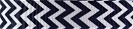 Grosgrain Ribbon x 3 Metres Chevron Stripes: Navy & White