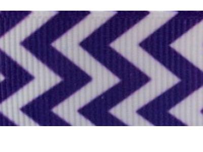 Grosgrain Ribbon x 3 Metres Chevron Stripes: Purple & White